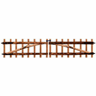 vidaXL Puerta doble para valla 300x60 cm madera de avellano impregnada
