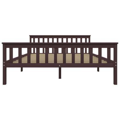 vidaXL Estructura de cama madera maciza pino marrón oscuro 160x200 cm
