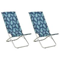 vidaXL Sillas de playa plegables 2 uds tela con estampado de hojas