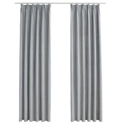 vidaXL Cortinas opacas con ganchos 2 piezas gris 140x175 cm