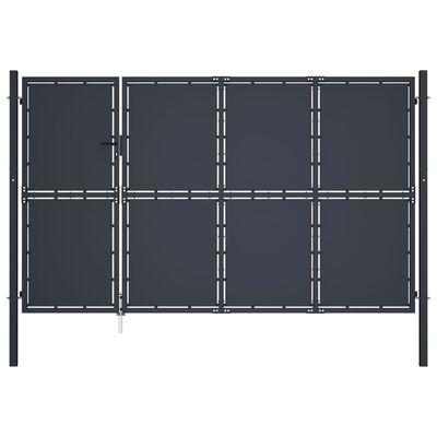 vidaXL Puerta de jardín de acero gris antracita 350x150 cm
