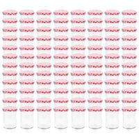 vidaXL Tarros de mermelada de vidrio tapa blanca y roja 96 uds 400 ml