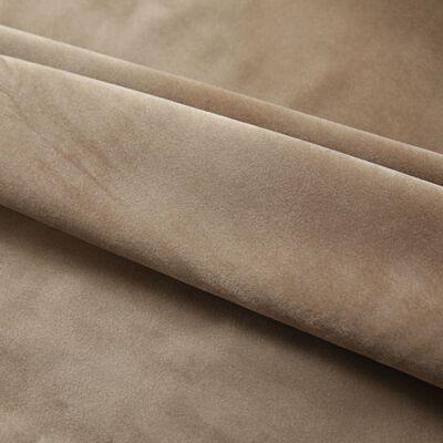 vidaXL Cortinas opacas con ganchos 2 pzas terciopelo beige 140x225 cm
