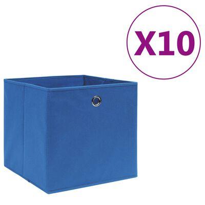 vidaXL Cajas de almacenaje 10 uds textil no tejido 28x28x28 cm azul