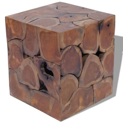vidaXL Taburetes/mesa de centro madera de teca maciza