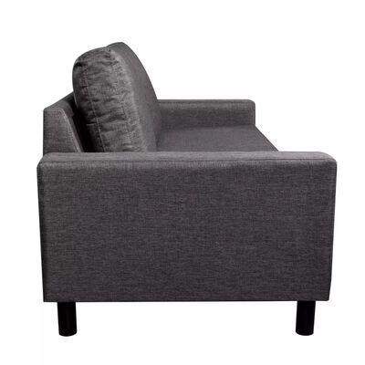 vidaXL Sofá de 3 plazas tela gris oscuro