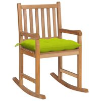 vidaXL Silla mecedora de madera maciza teca con cojín verde brillante