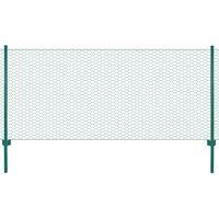 vidaXL Valla de malla de alambre con postes de acero 25x1 m verde