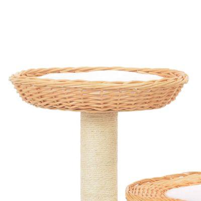 vidaXL Rascador para gatos con poste de sisal madera natural de sauce