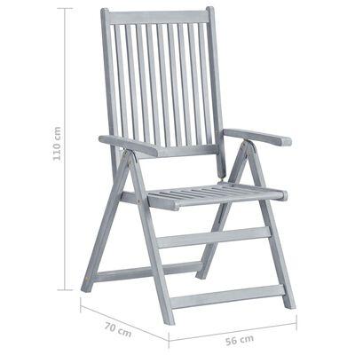 vidaXL Sillas de jardín reclinables 2 uds madera maciza acacia cojines
