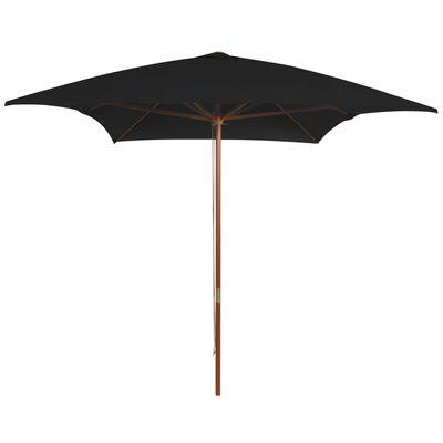 vidaXL Sombrilla de jardín con palo de madera negra 200x300 cm