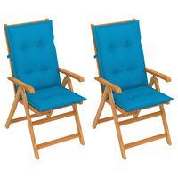 vidaXL Sillas de jardín 2 uds madera maciza de teca con cojines azul