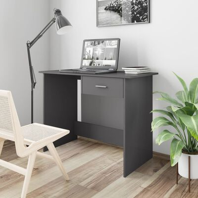 vidaXL Escritorio de aglomerado gris brillante 100x50x76 cm