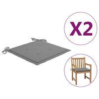 vidaXL Cojines para sillas de jardín 2 unidades gris 50x50x3 cm