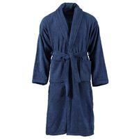 vidaXL Albornoz de rizo unisex 100% algodón azul marino talla L
