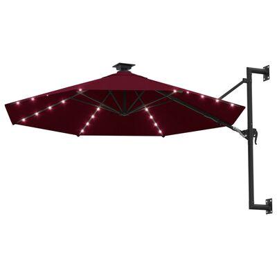 vidaXL Sombrilla de pared con LEDs y poste de metal 300 cm burdeos