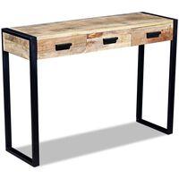 vidaXL Mesa consola con 3 cajones madera de mango 110x35x78 cm