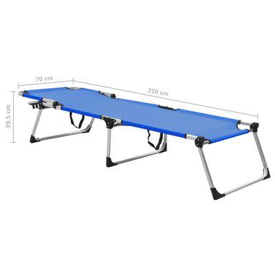 vidaXL Tumbona plegable alta para mayores aluminio azul
