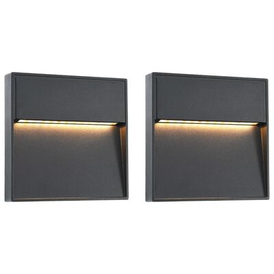 vidaXL Lámparas LED de pared para jardín 2 unidades cuadrada negra 3 W