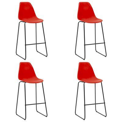 vidaXL Juego de mesa alta y taburetes 5 piezas plástico rojo