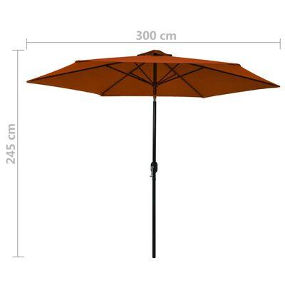 vidaXL Sombrilla de jardín palo de metal terracota 300 cm