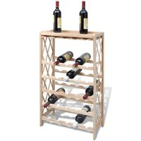 vidaXL Botellero con estantes para 25 botellas madera maciza abeto