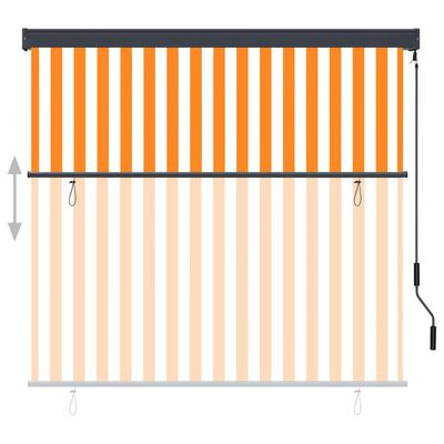 vidaXL Estor enrollable de exterior blanco y naranja 170x250 cm