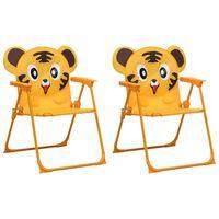 vidaXL Sillas de jardín para niños 2 unidades tela amarillo