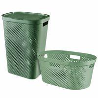 Curver Juego de cestos para colada Infinity 2 piezas verde 40L + 60L