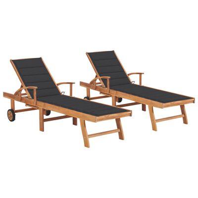 vidaXL Tumbonas 2 uds madera maciza de teca con cojín gris antracita