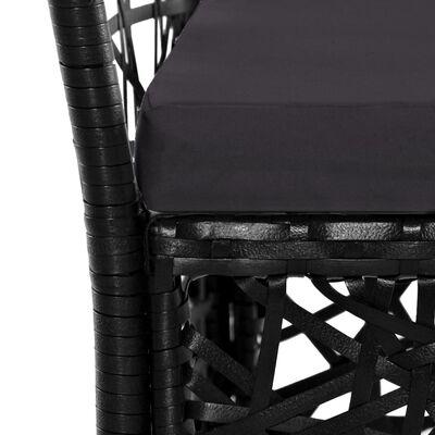 vidaXL Conjunto de comedor de exterior 9 piezas ratán sintético negro