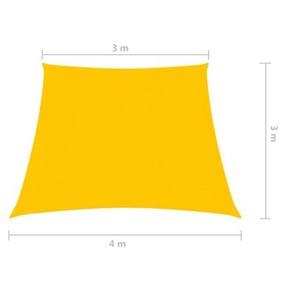 vidaXL Toldo de vela HDPE amarillo 160 g/m² 3/4x3 m