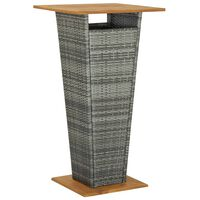 vidaXL Mesa alta ratán sintético y madera de acacia gris 60x60x110 cm