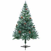 vidaXL Árbol de navidad glaseado con piñas 150 cm