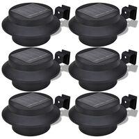 Foco solar negro para vallas de jardín, 6 unidades