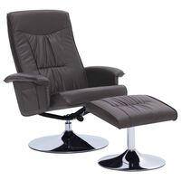 vidaXL Sillón reclinable con reposapiés cuero sintético gris