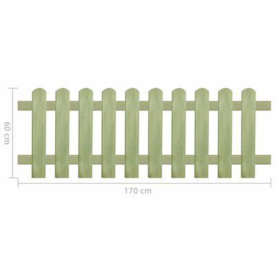 vidaXL Valla de madera de pino impregnada 170x60 cm 6/9 cm