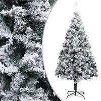 vidaXL Árbol de Navidad artificial con nieve PVC verde 210 cm