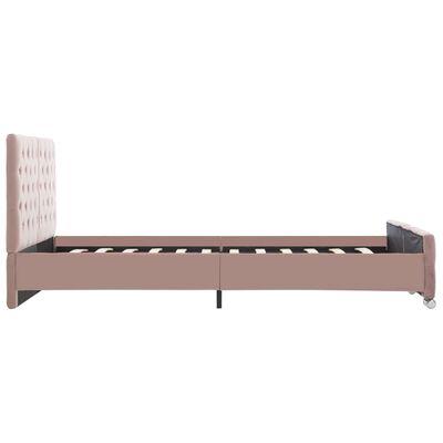 vidaXL Estructura de cama de tela rosa 140x200 cm