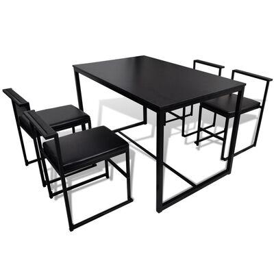 vidaXL Conjunto de mesa de comedor y sillas 5 piezas negro