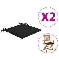 vidaXL Cojines de silla de jardín 2 uds tela negro 40x40x4 cm