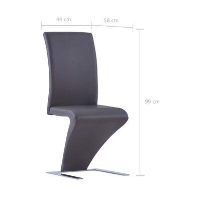 vidaXL Sillas de comedor forma de zigzag 2 uds cuero sintético gris