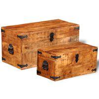 vidaXL Set de cofres de almacenamiento 2 unidades madera mango rugosa