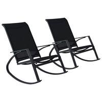 vidaXL Sillas mecedoras de jardín 2 unidades textilene negro