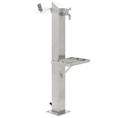 vidaXL Columna de agua para jardín acero inoxidable cuadrada 95 cm