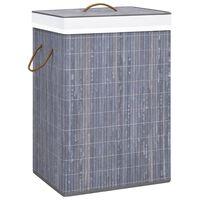vidaXL Cesto de ropa sucia de bambú gris 72 L