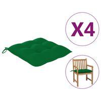 vidaXL Cojines de silla 4 unidades verde 50x50x7 cm