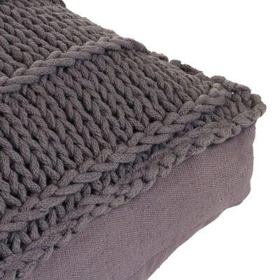 vidaXL Cojín cuadrado de suelo algodón tejido 60x60 cm gris