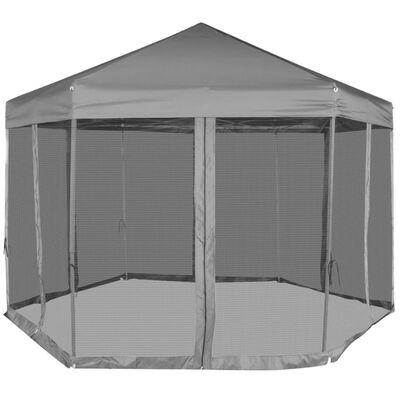 vidaXL Carpa hexagonal desplegable con 6 paredes laterales gris 3,6x3,1 m