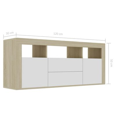 vidaXL Mueble para TV aglomerado blanco y roble Sonoma 120x30x50 cm